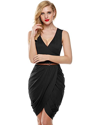 Meaneor-Womens-Draped-Deep-V-Neck-Sleeveless-Sexy-Cocktail-Party-Dress