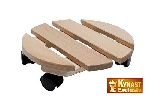 Kynast - Cartello porta vaso, su ruote, in legno massiccio, rotondo, capacità di portata: 120 kg, dimensioni: 30 cm