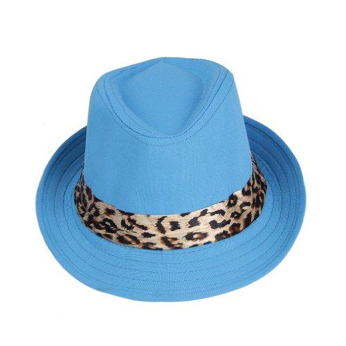 [Bigood Children Leopard Print Fedora Trilby Panama Cowboy Sun Hat Jazz Cap Blue] (Leopard Cowboy Hat)