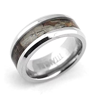 8mm White Beveled Titanium Comfort Fit Wedding Bands with Desert Camouflage Inlay Hunting Bands for Men Women Promise Engagement Matching Rings for Couples Holiday Birthday Gift for Boyfriend Girlfriend