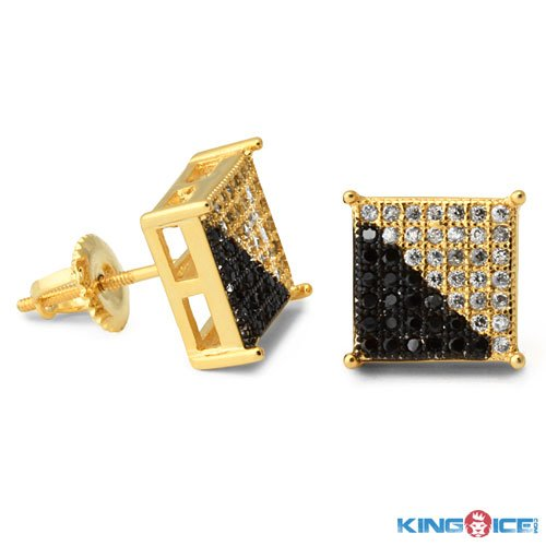 King Ice Ying Yang Gold Plated Earrings