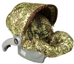 Infant Car Seat Cover: Caramel Apple Swirl with Trim Canopy-Couture Line