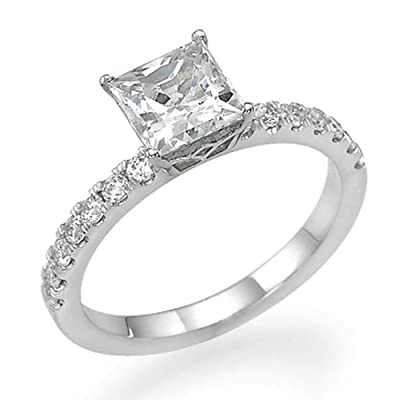 Diamond Engagement Ring 14K White Gold 0.75 ct Certified Princess Cut F Color SI2 Clarity