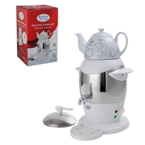 Best Prices! Electric Samovar Double Kettle Stainless Steel 3L with Ceramic .7l Tea Pot