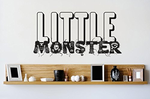 Design with Vinyl 1 Zzz 231 Decor Item Little Monster Kids Boy Girl Bedroom Quote Wall Decal Sticker, 10 x 20-Inch, Black