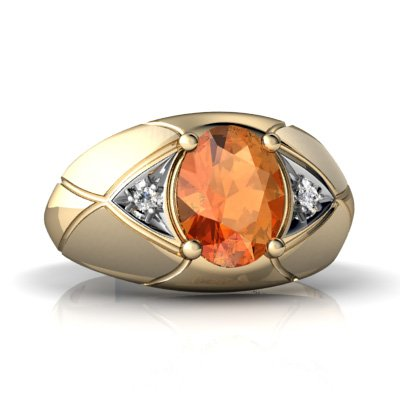14K Yellow Gold Oval Fire Opal Men's Men's Ring