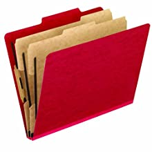 Pendaflex Colour Pressguard Classification Folders, Legal, Scarlet, 10/Box