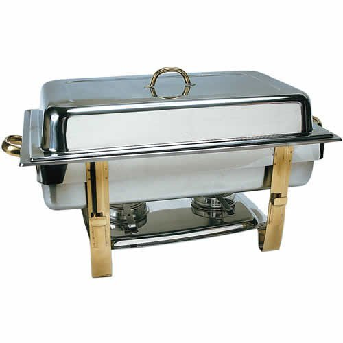 Update International (DC-6N) 8 Qt Stainless Steel Oblong Gold-Accented Chafer