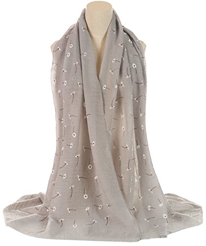 world-of-shawls-ladies-new-daisy-floral-print-scarves-scarf-wrap-sarong-shawl-light-silver