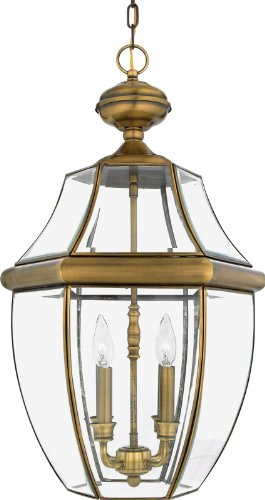 Quoizel NY1180A Newbury 4-Light Outdoor Hanging Lantern, Antique Brass