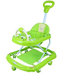 NOVICZ Baby Walker - Green Color - Foldable and Height Adjustable