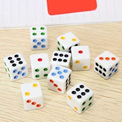 Set of 10 Multicolor Six Sided D6 16mm Standard Square Corner Dice Set Game -