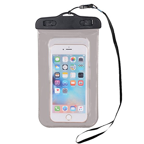 """Waterproof Phone Case – Cellphone Dry Bag for Apple Iphone 6s 6,6s Plus, 5s 7, Samsung Galaxy S7, S6 Note 5 4, HTC Lg Sony Nokia Motorola up to 5.5"""" Diagonal (Black)"""