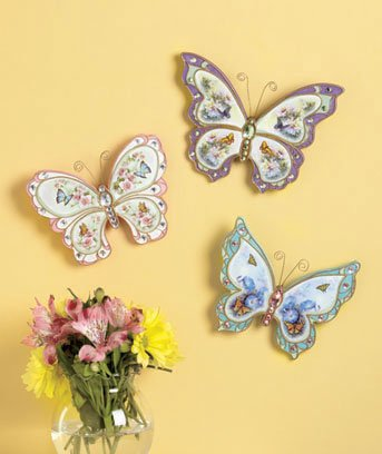 Set of 3 Butterfly Wall Hangings - 1