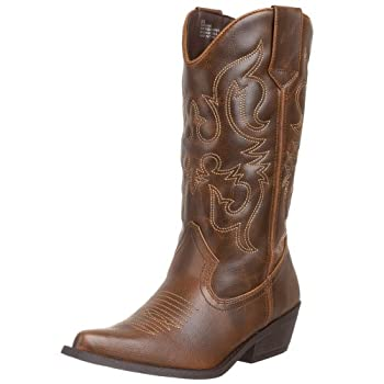 Womens Madden Girl, Sanguine Western style Boot  Show everyone that this is not your first time at the Rodeo in these boots  Manmade upper  Contrast stitching detail for added western flair  Manmade lining  Pull on style and side tabs for an easy on ...