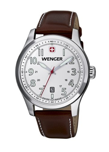 Wenger Terragraph Men's Quartz Watch with White Dial Analogue Display and Brown Leather Strap 010541103