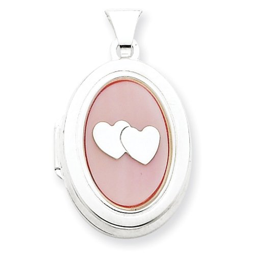 Sterling Silver MOP with 2 Hearts 2-Frame Oval Locket