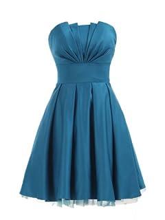 Landybridal A-line Knee Length Satin Bridesmaid Dress E22464 L Blue