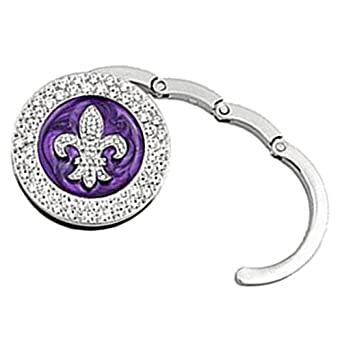 Luxury Divas Purple Rhinestone Fleur Di Lis Enameled Handbag Holder