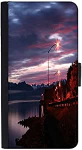 Snoogg Alaskan Dawn Graphic Snap On Hard Back Leather + Pc Flip Cover Htc One X
