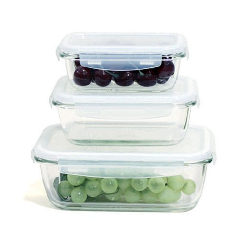 Lock&Lock Boroseal Iii, Borosilicate Glass Rectangular, 6-Piece Set/3-Containers