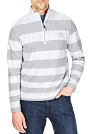 Blue Harbour Cotton Rich Piqué Block Striped Sweat Top [T28-1665B-S]