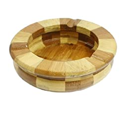 uxcell Bamboo Round Shape Cigarette Ash Holder Ashtray Beige Brown