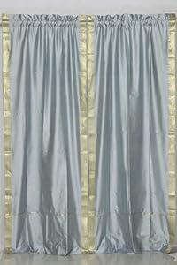Gray 84-inch Rod Pocket Sheer Sari Curtain Panel (India) - Pair