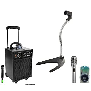 Pyle Speaker, Mic, Cable and Stand Package - PWMA930I 600 Watt VHF Wireless Portable PA Speaker System/Echo W/Ipod Dock - PDMIK1 Professional Moving Coil Dynamic Handheld Microphone - PMKS8 U-Base Gooseneck Desktop Microphone Stand - PPFMXLR15 15ft. XLR Male to XLR Female Microphone Cable