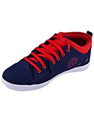 99 Moves Men's Faux Canvas Shoes Blue And Red Canvas