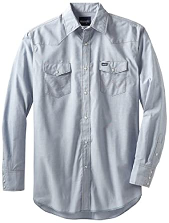 Wrangler Men's Big And Tall Authentic Cowboy Cut Work Western Shirt, Medium Wash, 18 1/2 37