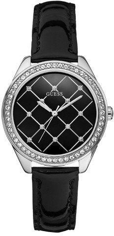 Guess W60005L2 - Reloj analógico de cuarzo para mujer con correa de piel, color negro