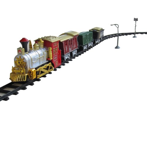 Old Fashioned Locomotive Battery Operated Toy Train Set W/ Cars, Tracks, Accessories