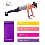Fitness Resistance Bands Set of 5 Loop Exercise Bands Latex Elastic Band for Upper Lower Body Core Exercise, Strength Training, Physical Therapy, Yoga, Pilates, Rehab, Stretching, Home Workout