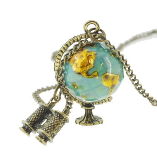 Retro Statement Gold Globe Telescope Necklace