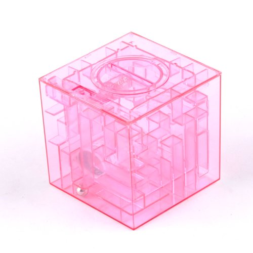 Ostart Money Maze Bank Saving Collectibles Coin Case Holder Gift Box 3D Puzzle Game - Pink