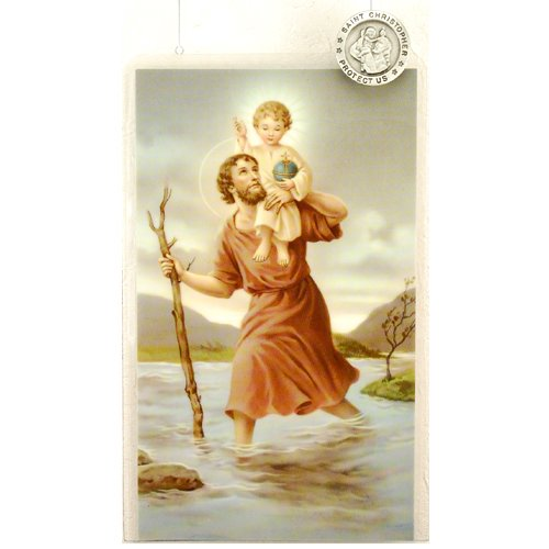 Pewter St. Christopher Lapel Pin with Prayer Card.