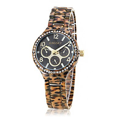 M.M.Women'S Leopard Print Diamond Case Ceramic Band Quartz Wrist Watch (Assorted Colors)