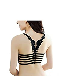 Black Butterfly Lace Bralet cum T shirt Bra padded with soft pads Bralet/Bralette FREE SIZE