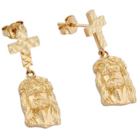 14k Yellow Real Gold Cross Crucifix Jesus Post Womens Earrings