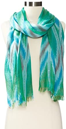 Collection XIIX Women's Ikat Sequin Wrap Scarf, Jungle Green, One Size