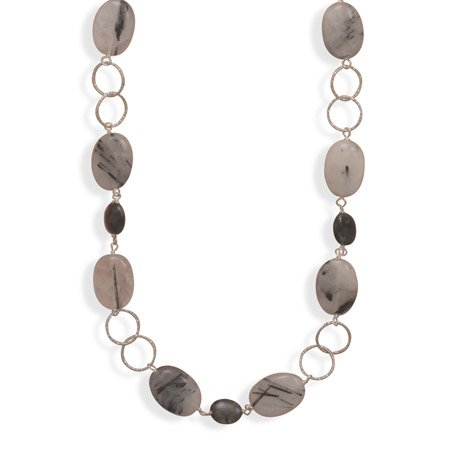 Quartz and Labradorite Necklace Sterling Silver Adjustable Length - Made in the USA