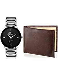 Arum Stylish Black Cat Watch&Brown Wallet For Men