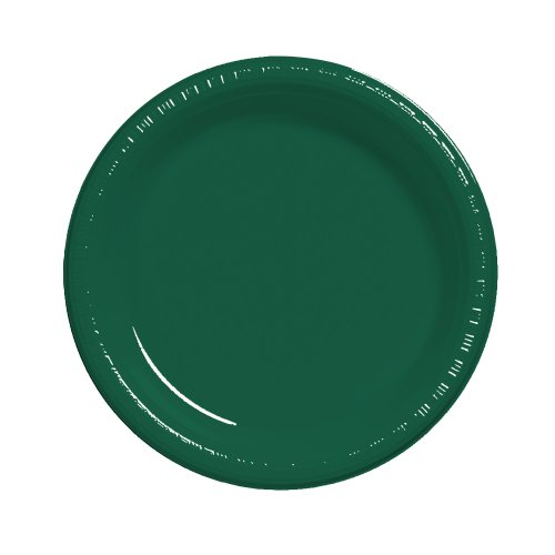 Creative Converting Touch of Color 20 Count Plastic Dinner Plates, Hunter Green