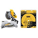 DEWALT DW716 12 in. Double-Bevel Compound Miter Saw with DEWALT DW7296PT Precision Trim 12-Inch 96 Tooth ATB Crosscutting Saw Blade with 1-Inch Arbor