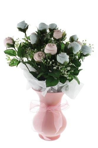 Twin Large Bootie Bloom - Blue & Pink Socks - Pink Vase