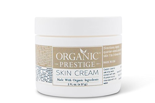Luxury Organic Dry Skin Repair CREAM & Natural Facial Moisturizer (2 oz) Rosacea, Eczema, Psoriasis, Rashes, Redness, Aloe Vera, Vegan, Gluten Free, Face and Body, Smooth Legs by Organic Prestige