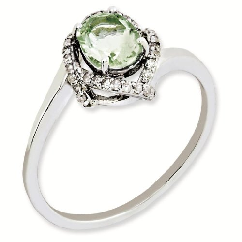 Sterling Silver Genuine Green Quartz & Diamond Ring