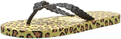 Gandys Womens Printz Thong Sandals W2134 Black Leopard Strap 3 UK, 36 EU