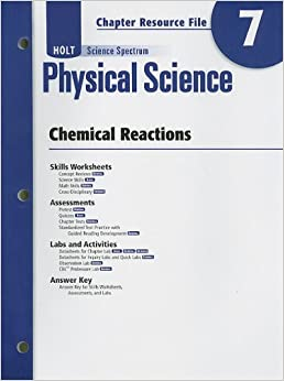 holt science spectrum physical science chapter 7 resource file chemical reactions winston holt. Black Bedroom Furniture Sets. Home Design Ideas